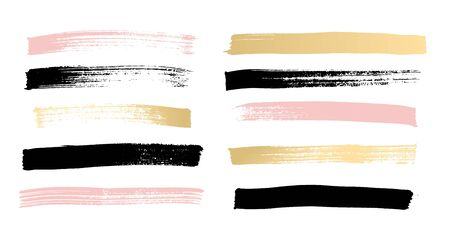 Brush colorful strokes collection isolated on white background vector illustration. Set of hand drawn space for lettering. Element with drawing stain for creative idea