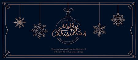 Merry Christmas and Happy New Year elegant banner template vector illustration. Postcard with frame line decorated by Xmas ball and snowflake symbol. Greeting card with wishes