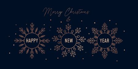 Merry Christmas festive greeting card with snowflakes vector illustration. Rose gold flakes of snow with wishes Happy New Year on black background. Winter holidays concept