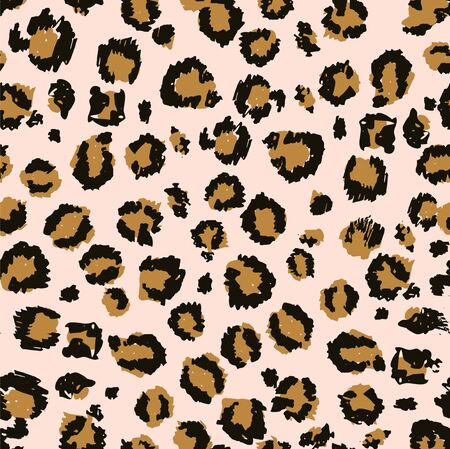 Seamless leopard fur pattern brush design vector illustration. Cover of fashion ornament print in yellow color. Wrap or textile with jaguar trendy spots on pink background