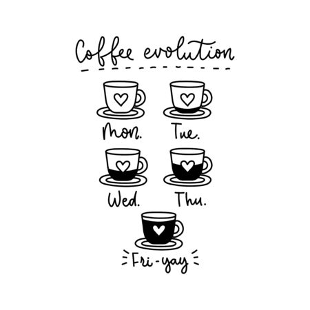 Coffee week evolution funny card with lettering vector illustration. Cups with heart symbol and caffeine loading process monday through friday flat style design. Java time promotional template concept