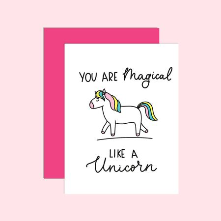 You are magical like a unicorn card with lettering vector illustration. Cute template with pink, white frames and mythical animal with colorful mane and tale