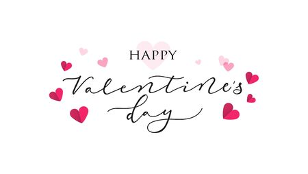 Happy Valentines Day festive greeting card vector illustration. Romantically template with lettering and pink hearts isolated on white background. Feast of Saint Valentine concept