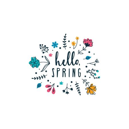 Hello spring inspirational card with lettering vector illustration. Colorful typography print design with greeting phrase decorated cute springtime flowers isolated on white background 일러스트