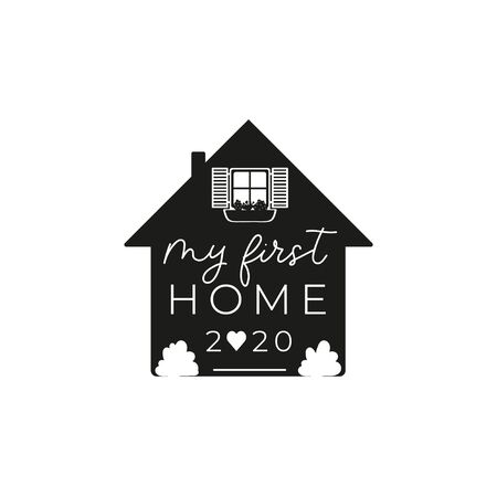 My first home ornament inspirational lettering vector illustration. Print or card with typography phrase about new place of residence. Template with cute house and flowers on white background 일러스트