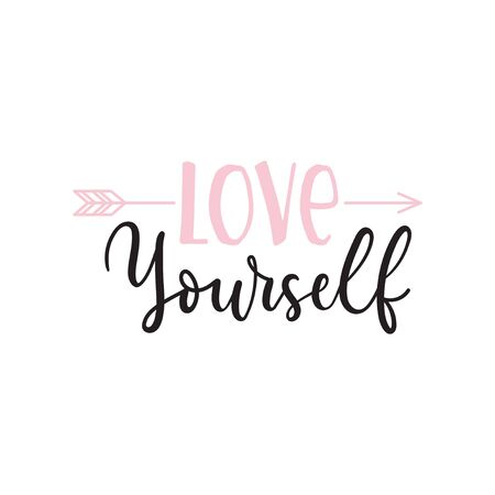 Love yourself inspirational lettering print vector illustration. Trendy template with motivational handwriting phrase with arrow in pink, black colors for female t-shirt design, poster, flyer, card 일러스트