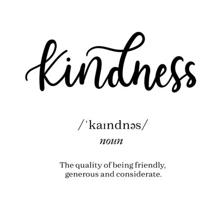 Meaning of word kindness on inspirational poster vector illustration. The quality of being friendly generous and considerate flat style. Isolated on white