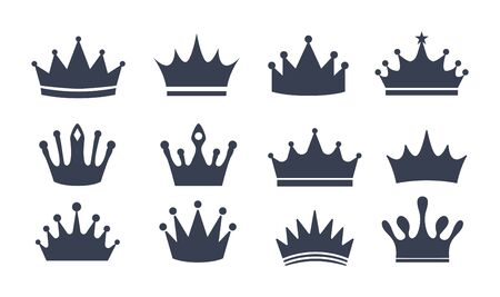 Set of different black beautiful crowns vector illustration. Silhouette symbols flat style. King or queen accessory. Luxury concept. Isolated on white background Ilustrace