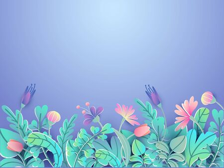 Spring or summer floral background in paper style vector illustration. Blooming flowers on blue backdrop. Garden rose and tulips. Art and warm season wallpaper concept Ilustrace