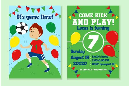 Football birthday party invitation with decor vector illustration. Garland and colourful balloons decorations flat style. Soccer and fun time with friends concept Ilustrace