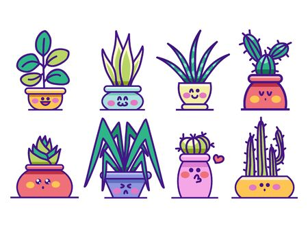Kawaii houseplants in pots with happy faces set vector illustration. Cute succulent or cactus plant cartoon style. Colourful lovely greenery. Isolated on white