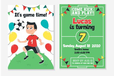 Kids football birthday party invitation vector illustration. Game and win. Place and time information flat style. Come kick and play. Fun soccer and childhood concept