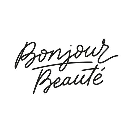 Bonjour beaute hello beautiful french lettering card vector illustration. Inspirational handwritten text flat style. Neat cursive. Isolated on white background