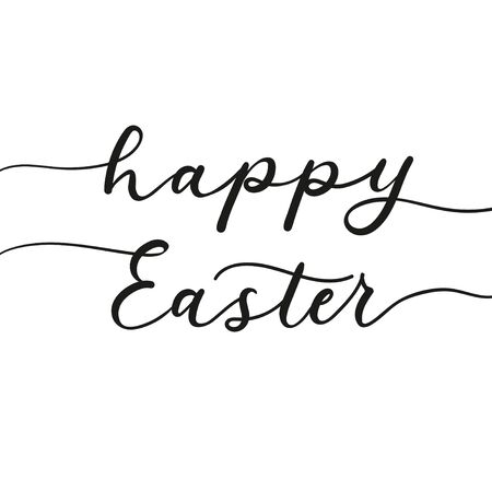 Happy easter ink lettering on greeting card vector illustration. Inspirational text on white background. Spring handwritten inscription flat style. Seasonal holiday concept
