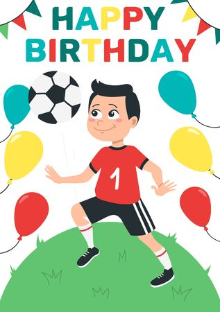 Happy birthday bright greeting card with boy vector illustration. Cheerful child kicking ball on soccer field flat style. Balloons and garland for decor. Fun time and celebration concept Ilustrace