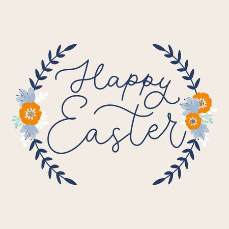 Happy easter handwritten lettering on floral card vector illustration. Greeting text and flower decorations flat style. Isolated on white. Festive holiday and spring concept