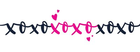 Xo xo xo card with doodles and hearts vector illustration. Pink and black colours of letters flat style. Inspiration love and kiss concept. Isolated on white background