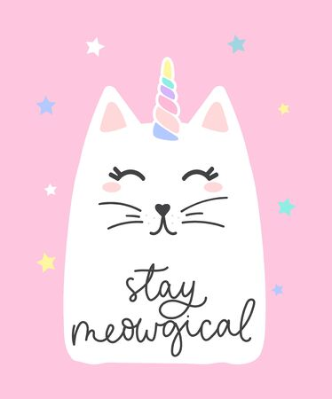 Stay meowgical lettering card with cute cat vector illustration. Kitty with unicorns horn flat style. Colourful stars decoration. Inspiration concept. Isolated on pink background Ilustrace