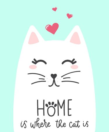 Cute kitty with hearts decorations and lettering vector illustration. Domestic animal with handwritten text flat style. Inspiration concept. Isolated on blue background