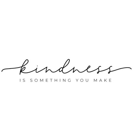 Kindness something you make typography card vector illustration. Kind heart flat style. Inspirational lettering and minimalism concept. Isolated on white background Ilustrace