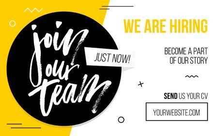 Join our team black and yellow banner template vector illustration. Sample of website page for finding job and sending cv, candidate resume. Web with button and text 向量圖像