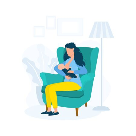 Woman breastfeeding baby sitting on chair vector illustration. Parenthood and childhood flat style. Natural process of kid care concept. Isolated on white background  イラスト・ベクター素材