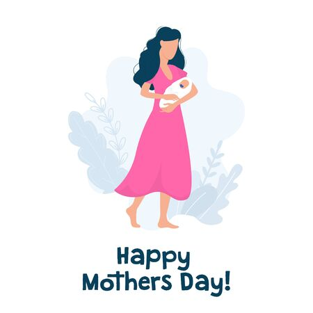 Happy mothers day greeting card with text vector illustration. Woman with baby and pink dress flat stye. International holiday and parenthood concept. Isolated on white background