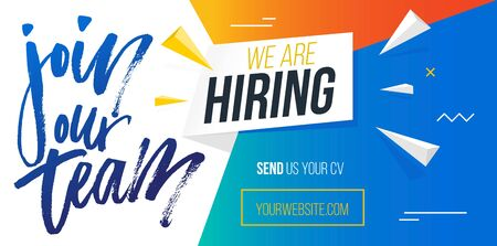 Join our team, we are hiring banner template vector illustration. Blue website with calligraphic inscription and button with web address. Landing page of headhunters