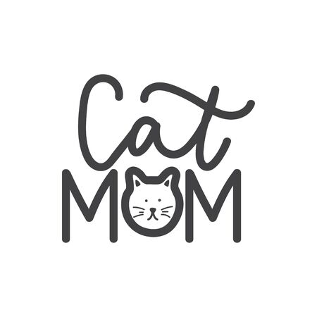 Cat mom lettering print with kitten muzzle vector illustration. Calligraphic card   isolated on white background. Decorative inscription with pet face  イラスト・ベクター素材