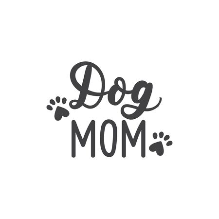Dog mom calligraphy inscription with paw footprint vector illustration. Handwritten text card or tshirt print. Doggie lovers logotype, decorative font  イラスト・ベクター素材