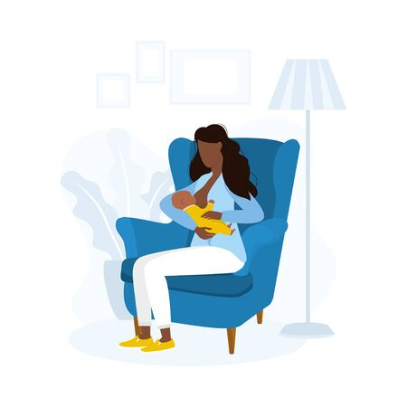 Afro american woman in chair breastfeeding baby vector illustration. Take care of newborn flat style. Parenthood and happiness concept. Isolated on white background  イラスト・ベクター素材