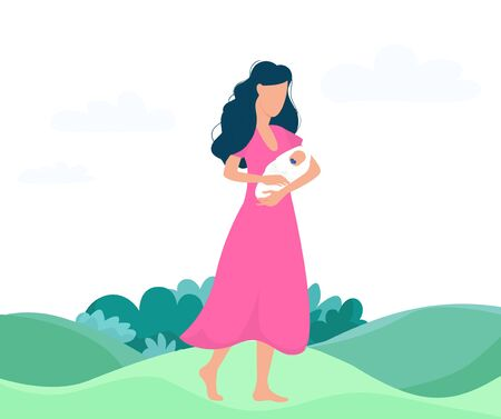 Mother holding newborn standing on grass vector illustration. Person in pink dress with baby flat style. Colourful artwork. Parenthood and childhood concept. Isolated on white background