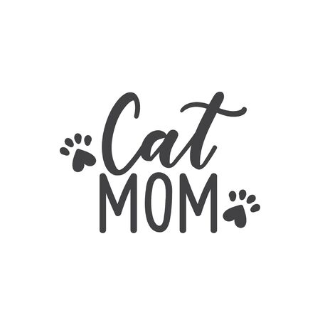 Cat mom lettering with paws silhouette on white vector illustration. Calligraphic inscription card. Decorative font  or tshirt print. Animal lovers sign