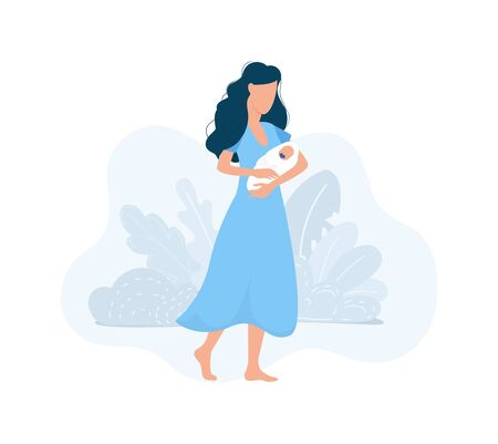 Beautiful mother holding baby with tropical decor vector illustration. Loving female with newborn flat style. Adult in bright blue dress. Love concept. Isolated on white background