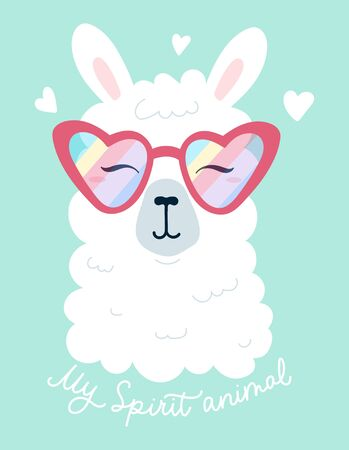 My spirit animal, inspirational lettering print vector illustration. Spiritual llama, motivational inscription with stylish alpaca wearing sunglasses. Positive banner with phrase  イラスト・ベクター素材