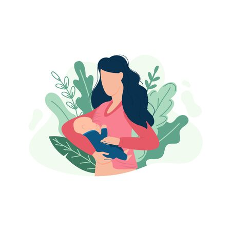 Woman breastfeeding baby in tropical decor vector illustration. Female with newborn flat style. Bright green leaves. Parenthood and childhood concept. Isolated on white background