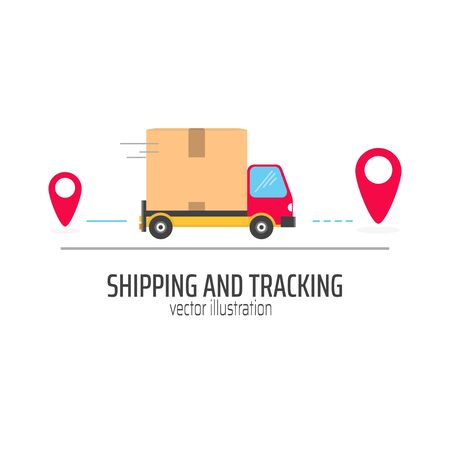 Shipping and tracking package in red truck vector illustration. Transportation of delivery flat style. Truck with location symbol. Distribution concept. Isolated on white background