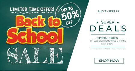Back to school sale promo banner template vector illustration. Limited time offer for customers of website. Half price off on selected items. Shopping concept  イラスト・ベクター素材