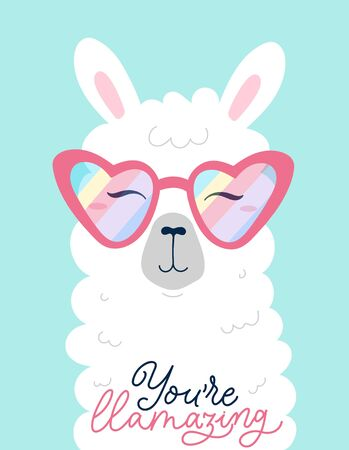 You're llamazing inspirational print or card llama vector illustration. Motivational quote, calligraphy lettering. Alpaca animal wearing pink sunglasses in heart shape