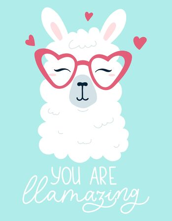 You are llamazing lettering print card with llama vector illustration. Inspirational decorative phrase with character. Alpaca wearing heart shaped sunglasses