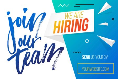 Join our team, hiring banner template flat style vector illustration. Send cv for employment. Website with calligraphy phrase, info and button. Recruiting concept