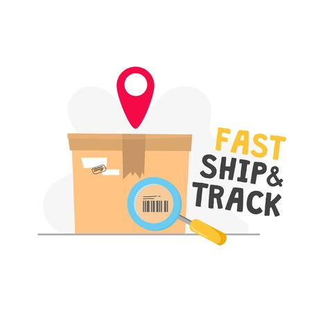 Fast shipping track order icon with inscription vector illustration. Carton box with barcode flat style. Delivery service on location. Distribution concept. Isolated on white background  イラスト・ベクター素材