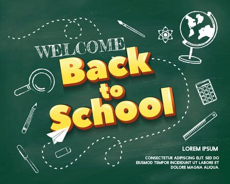 Welcome back to school poster, banner or discount label template with green chalkboard background. Horizontal back to school layout for banners, flyers and shopping. Vector illustration  イラスト・ベクター素材
