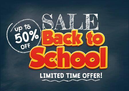 Back to school sale promo banner design. Chalkboard background with doodles and sale offer. Back to school poster background. Vector illustration.  イラスト・ベクター素材