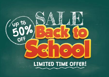 Back to school sale concept with chalkboard background. Sale Promo banner template vector illustration. Back to School Shopping Concept  イラスト・ベクター素材
