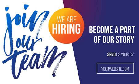 Join our team recruitment design poster. Modern brush lettering with colorful background. We are hiring banner or poster template. Trendy vector illustration.