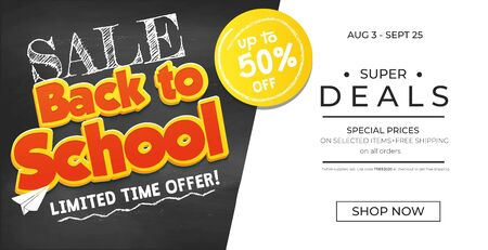 Promotional banner back to school with chalkboard and promotional offers. Chalkboard background with sale text. Vector illustration.Back to school sale promo banner template vector illustration.