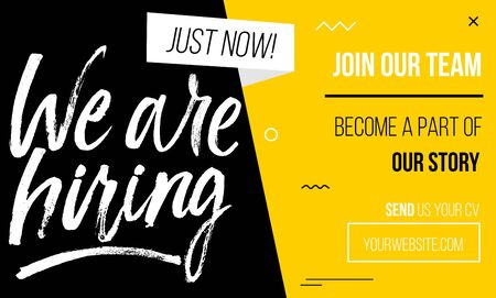 Join our team banner, poster of flyer template with yellow, white and black colors. Recruitment design template with abstract geometric shapes and brush lettering. Vector illustration Ilustración de vector