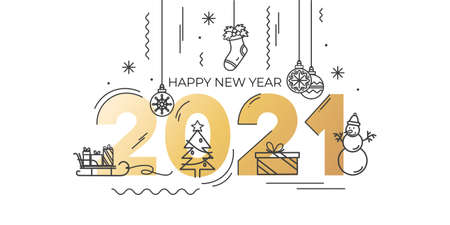 2021 Happy New Year greeting card with golden text and linear icons. Trendy Christmas and New Year design for party invitation, greeting card, poster, banner etc. Vector illustration