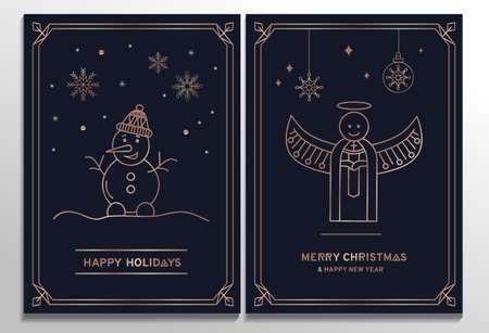 Luxury Christmas cards set. Elegant New year templates with rose gold geometric elements and navy blue background. Rose gold snowflakes, angel and snowman in line art style. Vector illustration
